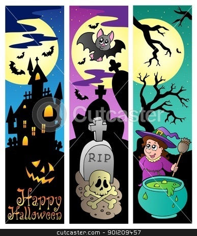 Halloween banners set 6 stock vector clipart, Halloween banners set 6 - vector illustration. by Klara Viskova