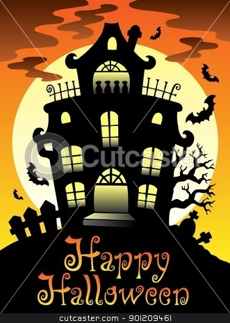 Happy Halloween theme with Moon 2 stock vector clipart, Happy Halloween theme with Moon 2 - vector illustration. by Klara Viskova