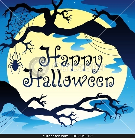 Happy Halloween theme with Moon 3 stock vector clipart, Happy Halloween theme with Moon 3 - vector illustration. by Klara Viskova