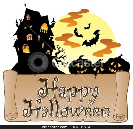 Theme with Happy Halloween banner 1 stock vector clipart, Theme with Happy Halloween banner 1 - vector illustration. by Klara Viskova
