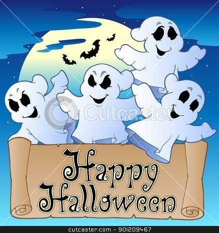 Theme with Happy Halloween banner 2 stock vector clipart, Theme with Happy Halloween banner 2 - vector illustration. by Klara Viskova