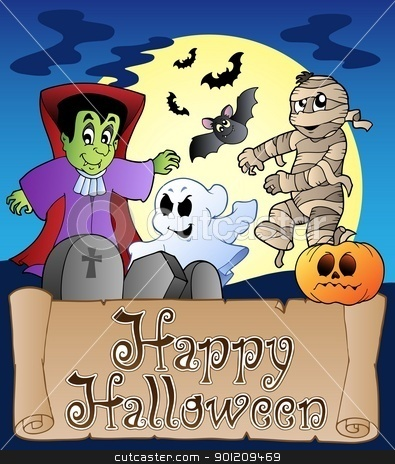 Theme with Happy Halloween banner 4 stock vector clipart, Theme with Happy Halloween banner 4 - vector illustration. by Klara Viskova