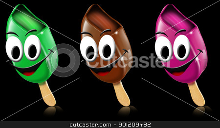 Cartoon colored ice creams with smile stock photo, Three cartoon colored ice creams with smile on a black background by catalby