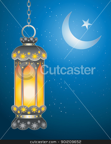 ramadan lantern stock vector clipart, an illustration of a decorative ramadan lantern with bright flame against a dark starry sky with islamic symbol by Mike Smith