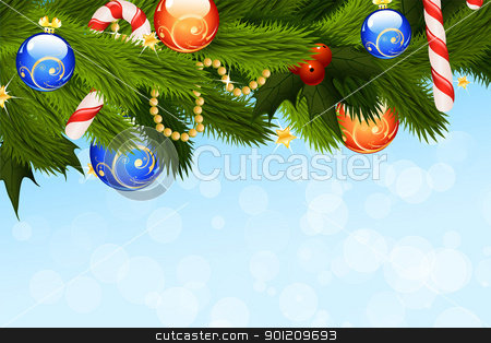 Christmas Background stock vector clipart, Christmas Card with fir-tree sparkles and decoration for your design by Vadym Nechyporenko