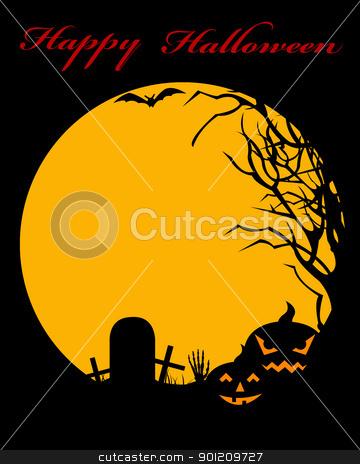 Halloween illustration stock vector clipart, Halloween illustration with moon in background by Ioana Martalogu