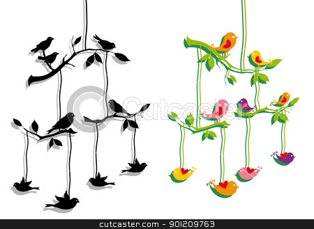birds with tree branch, vector stock vector clipart, birds mobile with tree branch, vector illustration by Beata Kraus