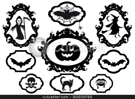 halloween frames, vector stock vector clipart, halloween set with frames, vector design elements by Beata Kraus