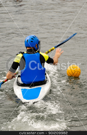 Man playing kayak polo stock photo, Man playing kayak polo. The picture is motion blur by Lars Christensen