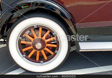 Old Wooden Wheel stock photo, Antique wheel with wooden spokes whitewall tire by Jack Schiffer