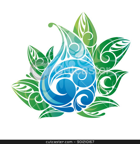 water drop with green leaves stock vector clipart, water drop with green leaves vector illustration by SelenaMay