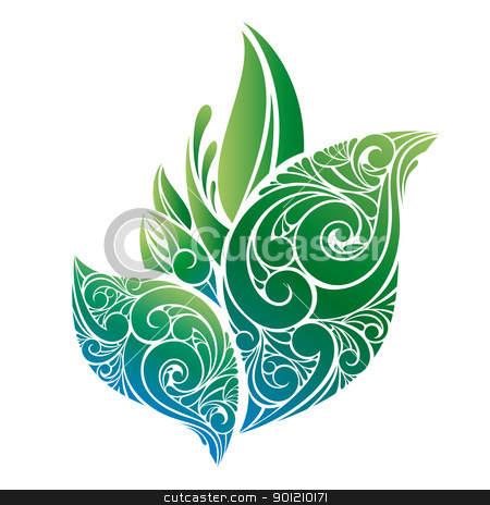 vector green leaves stock vector clipart, abstract vector green leaves isolated on white by SelenaMay