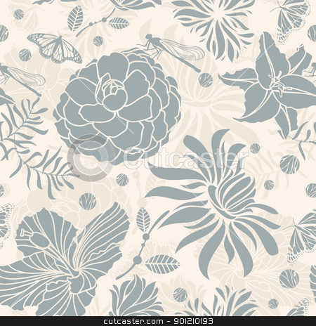 seamless floral pattern stock vector clipart, abstract seamless retro floral pattern vector illustration by SelenaMay