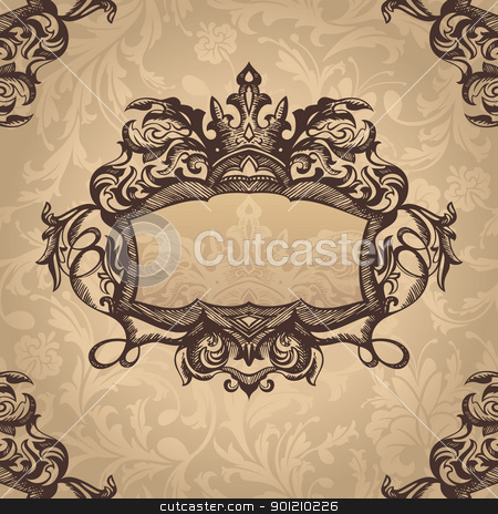 retro vintage frame stock vector clipart, abstract royal retro vintage frame vector illustration by SelenaMay