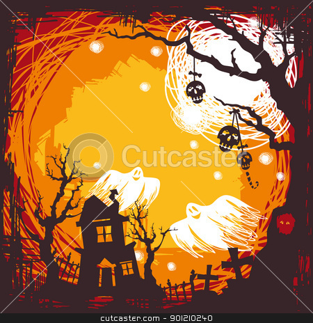 halloween background stock vector clipart, abstract cartoon cute halloween background vector illustration by SelenaMay
