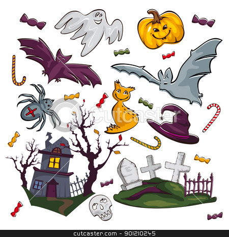 set of Halloween icons stock vector clipart, set of abstract Halloween icons vector illustration by SelenaMay