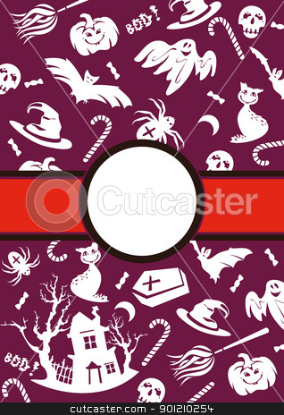 Halloween vector frame stock vector clipart, abstract cartoon cute Halloween frame vector illustration by SelenaMay