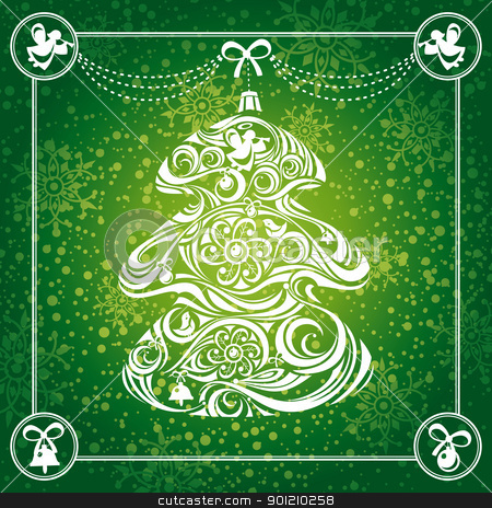 Christmas tree card stock vector clipart, abstract Christmas tree card background vector illustration by SelenaMay