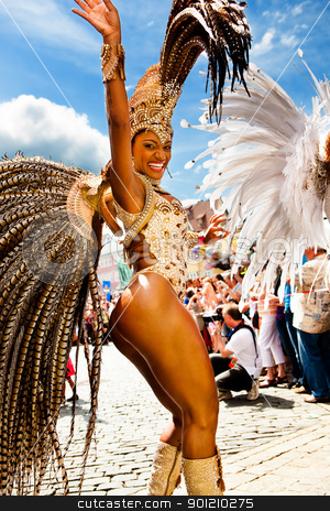 Scenes of Samba stock photo, COBURG, GERMANY - JULY 10: An unidentified female samba dancer participates at the annual samba festival in Coburg, Germany on July 10, 2011. by Val Thoermer