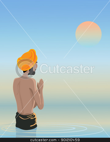 bathing in the holy pool stock vector clipart, an illustration of a sikh man bathing inthe waters of the holy pool under a sunset sky by Mike Smith