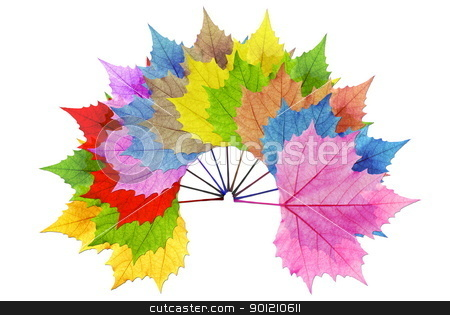 The multi-colored leaf overlay stock photo, Overlay multiple leaf color with a white background to make the leaves stand out. by photomyheart