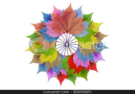 Circles, multi-colored leaves stock photo, The overlapping colors in a circle with a white background to stand out.