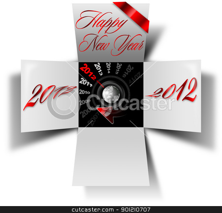 2012 happy new year box stock photo, Open box with timer and written happy new year 2012 by catalby