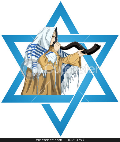 Star Of David Rabbi With Talit Blows The Shofar stock vector clipart, A vector illustration of a Rabbi with Talit blows the shofar with the star of David for the Jewish holiday Yom Kippur. by Liron Peer