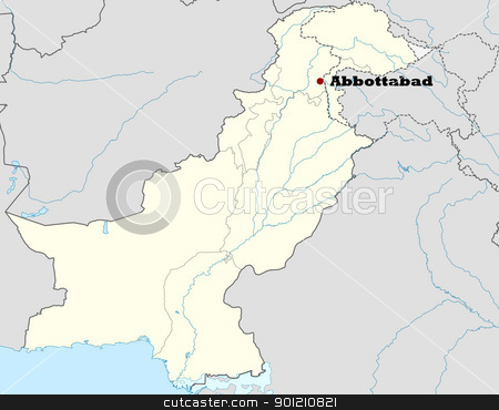 Abbottabad in Pakistan stock photo, Map of Pakistan showing location of city of Abbottabad where Osama Bin Laden was killed on 2nd May 2011. by Martin Crowdy