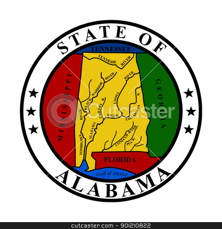 Alabama state seal stock photo, Seal of American state of Alabama; isolated on whiite background. by Martin Crowdy