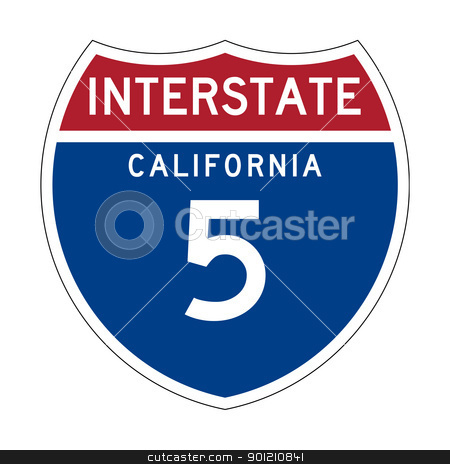 California Interstate Highway sign stock photo, American California Interstate Highway number 5 sign or shield; isolated on white background. by Martin Crowdy