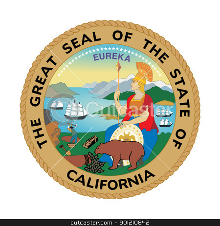 California state seal stock photo, Seal of American state of California; isolated on whiite background by Martin Crowdy