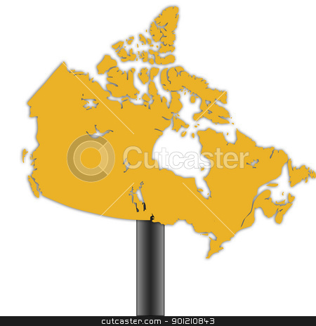 Canada map road sign stock photo, Canada map road sign background. by Martin Crowdy