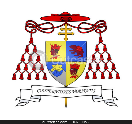 Cardinal Ratzinger coat of arms stock photo, Cardinal Ratzinger coat of arms isolated on white background. by Martin Crowdy