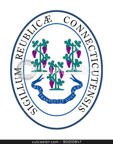 Connecticut state seal stock photo, Seal of American state of Connectticut; isolated on whiite background. by Martin Crowdy