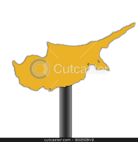 Cyprus map road sign stock photo, Cyprus map road sign isolated on a white background. by Martin Crowdy