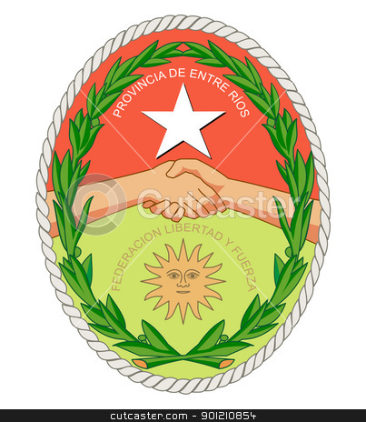 Entre Rios province coat of arms stock photo, Coat of arms of province of Entre Rios in Argentina; isolated on white background. by Martin Crowdy