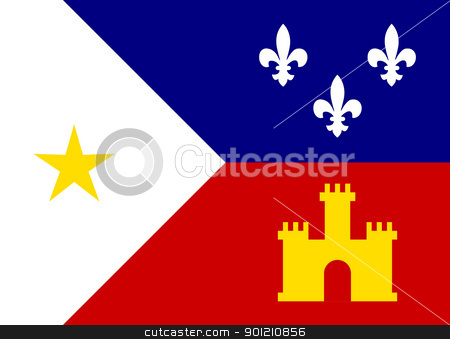 Acadiana flag stock photo, Flag of Acadiana city in the U.S.A  by Martin Crowdy