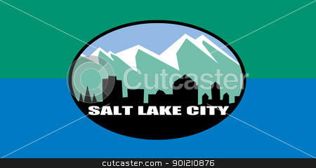 Salt Lake city flag stock photo, City flag of Salt Lake city in the U.S.A.  by Martin Crowdy
