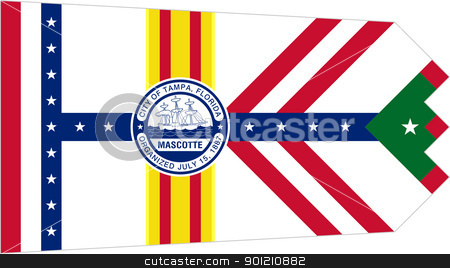 Tampa city flag stock photo, City flag of Tampa city, Florida, U.S.A.  by Martin Crowdy