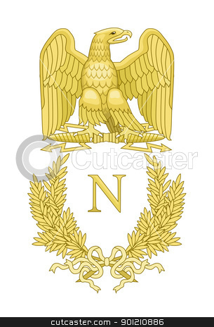 French Napoleonic Standard stock photo, Golden eagle on French Napoleonic standard; isolated on white background. by Martin Crowdy