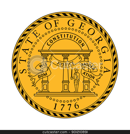 Georgia state seal stock photo, Seal of American state of Georgia; isolated on whiite background. by Martin Crowdy