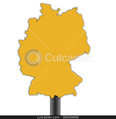 Germany map road sign stock photo, Germany map road sign isolated on a white background. by Martin Crowdy