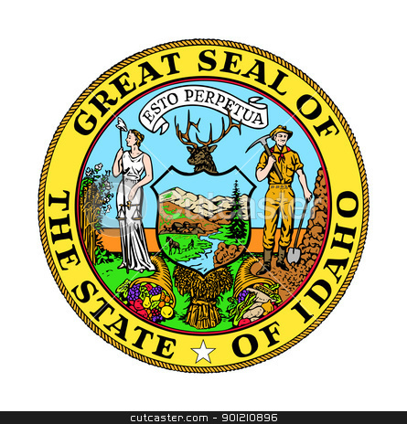 Idaho state seal stock photo, Seal of American state of Idaho; isolated on whiite background. by Martin Crowdy