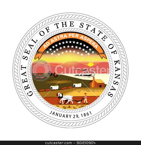 Kansas state seal stock photo, Seal of American state of Kansas; isolated on whiite background. by Martin Crowdy