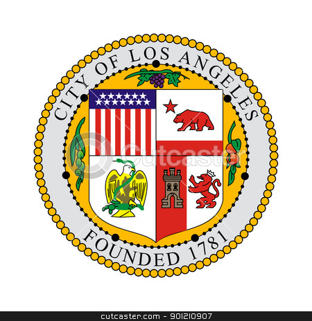 Los Angeles city seal stock photo, Seal of American city of Los Anglese, California, isolated on whiite background. by Martin Crowdy
