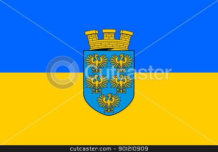 Lower Austria state flag stock photo, Official state flag of Lower Austria with herladic shield.  by Martin Crowdy