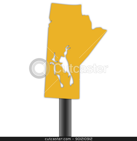Manitioba map road sign stock photo, Manitoba map road sign isolated on a white background. by Martin Crowdy