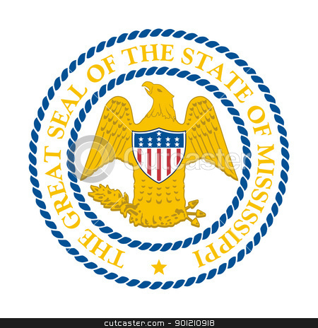 Mississippi state seal stock photo, Seal of American state of Mississippi; isolated on whiite background. by Martin Crowdy