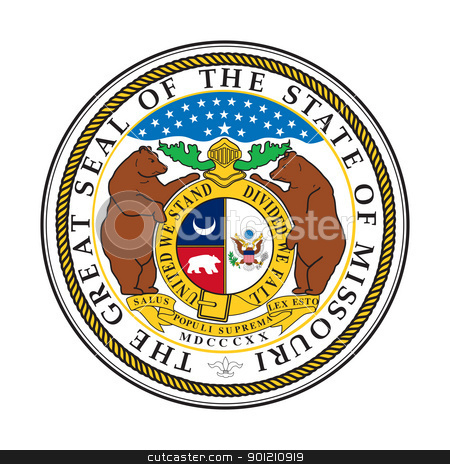 Missouri state seal stock photo, Seal of American state of Missouri; isolated on whiite background by Martin Crowdy
